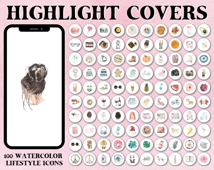 Featured listing image: Instagram Story Highlight Covers - Feminine Hand-drawn Watercolor Lifestyle Icons