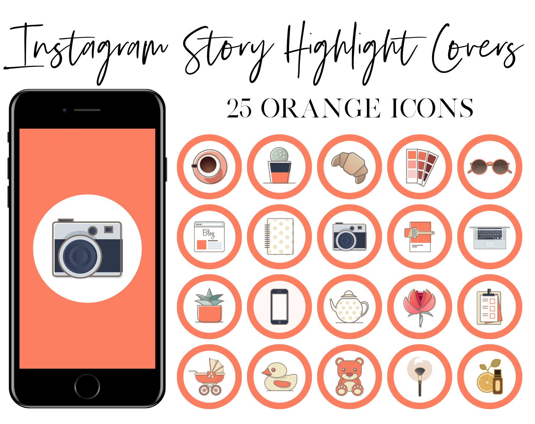 Instagram Story Highlight Covers Orange Icons