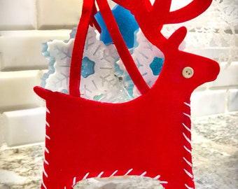 Reindeer Christmas gift set   Snowflake glycerin soap   Holiday gift   Stocking stuffers   Christmas soap   Reindeer gift handbag   Handmade