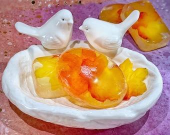 Birds Soap Dish | Soap Holder | Ceramic Dish | Bathroom decor | Bathtime | Embossed oval dish | Soap tray | Unique Gifts | Oval soap holder