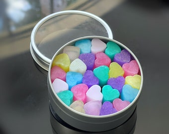 Handmade Carry-On Mini Heart Soaps in Round Tin Box   Handmade   Travel Soaps   Tiny Soaps   Hands   Party Favor   Skin Care   Natural Soaps