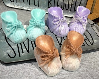 Pair of Baby Booties   Baby's Glycerin Soaps   Knitted Baby's Shoes   Baby Shower Favors   Baby Reveal Favors  Personalized Gifts