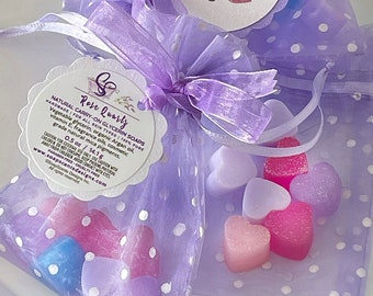 Handmade Carry-On Mini Heart Soaps in Organza Bag | Travel Soap | Soaps for Camping | Soaps to Go | Natural | Love | Sachets | Natural soaps
