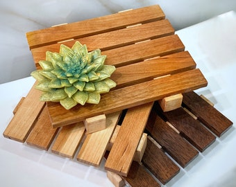 Wooden Soap Dish | American Cherry | Black Walnut  | Sapwood Cherry | Draining Soap Dishes | Soap Tray | Handmade in the USA | Soap holder