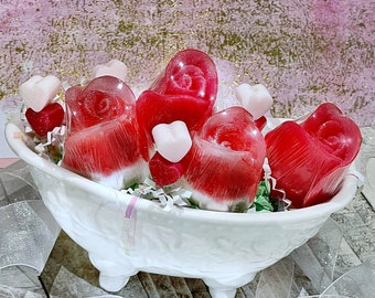 5-PC Rose Garden Gift Set | Handmade gifts | Glycerin soaps | Sensitive skin | Gifts for her | Victorian bathtub soap dish | Love | Beauty