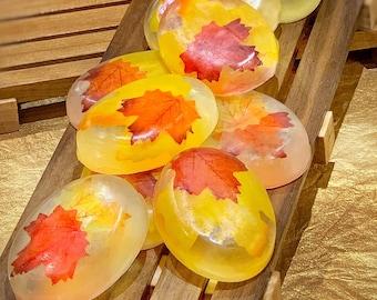 Honeysuckle & Jasmine Maple Leaf Soaps | Fall Soaps | Handmade | Autumn decor | Glycerin soap | Bar soap | Gifts | Hostess gift | Bathtime