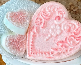 Heart Shaped Soaps Gift   Victorian Gift   Bathtub Dish with Soap Hearts Gift Set   Handmade   All-natural   Glycerin Soaps    Etsy Gifts