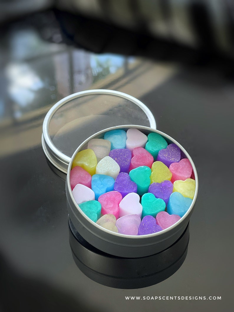 Handmade Carry-On Mini Heart Soaps in Round Tin Box  Handmade image 1