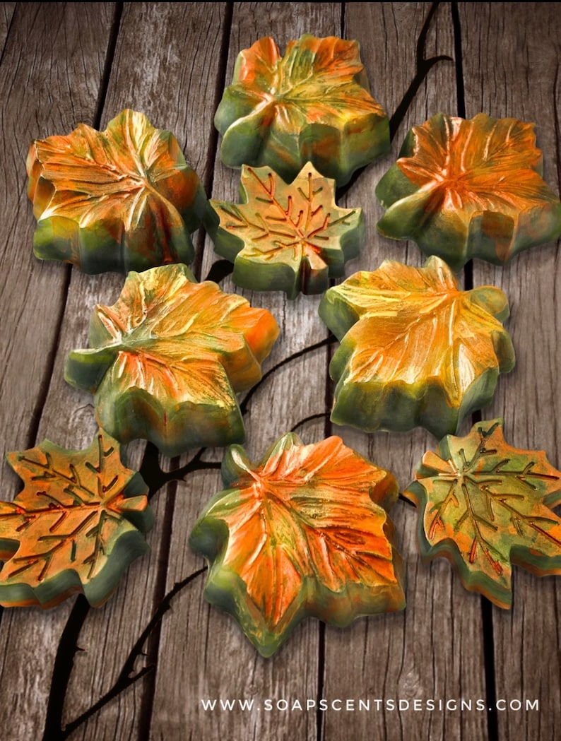 3 Fall Soap Leaves  Handmade White Sage Glycerin Soaps  Etsy image 0
