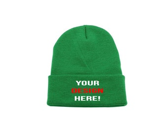 Colour Navy Personalised custom embroidered Mens//Ladies Beanie Hat Text//Logo