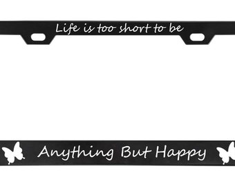 POWERED BY PIZZA Black License Plate Frame Tag Border
