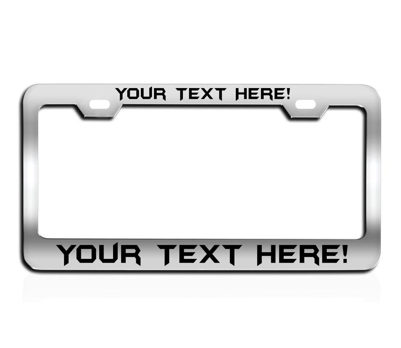 CUSTOM PERSONALIZED WHITE TEXT customized black License Plate Frame Metal