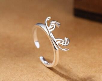 Silver Deer Wood Ring 925