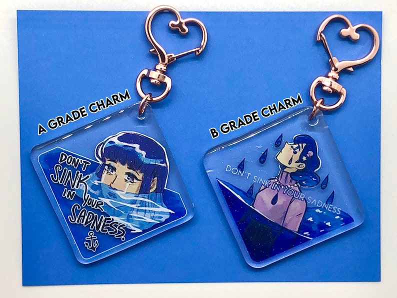A AND B GRADE Don/'t Sink In Your Sadness Motivational Ocean Themed Acrylic Charm