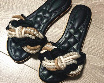 ceb467ae50c New Handmade Women White Pearl Rope Slides Shoes Sandals Thongs