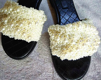 d7857621d13b New Handmade White Pearl Embroidery Black Leather Slides Thongs Shoes
