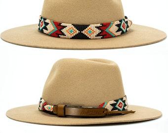 beaded hatband, leather hatband, hatband for cowboy hat, western hat band, navajo hatband, native hatband, Aztec beaded hatband