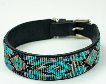 dog collar, leather dog collar, beaded dog collar, dog collar for girl, designer dog collar, bead dog collar, big dog, small dog, pitbull