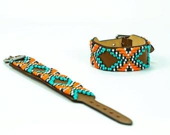 Beaded leather bracelet, Bohemian bracelet, Leather bracelet, women's bracelet, native bracelet, bangle, western, navajo, aztec bracelet,