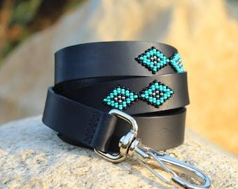 Dog leash, leather dog leash, dog leash leather, beaded dog leash, strong leather leash, flexi leash, walking leash, western, aztec, navajo