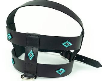 Leather dog harness, Beaded dog harness, pattern harness, tribal harness, aztec harness, native patterns, navajo, big dog harness, small dog