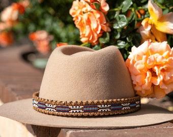 beaded hatband, leather hatband, hatband for cowboy hat, western hat band, navajo hatband, native hatband, Aztec beaded hatband, cultural