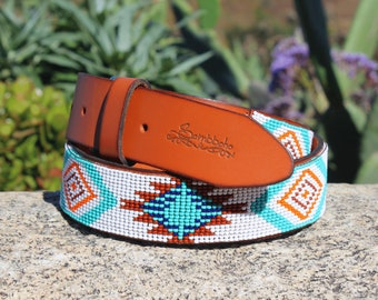 Beaded leather belt, full grain leather belt, genuine leather belt, men's belt, native belt, western belt, aztec belt, gift for him, rodeo