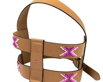 Leather dog harness, Beaded dog harness, pattern harness, tribal harness, girl harness, native patterns, navajo, big dog harness, small dog