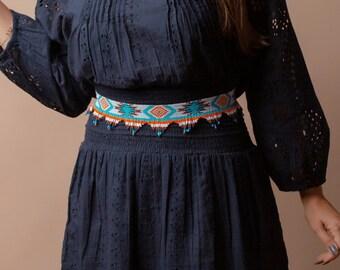 western belt, leather belt, beaded belt, native, navajo, aztec, southern, waist belt, dress belt, sambboho belt