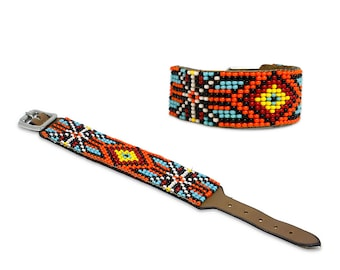Beaded leather bracelet, Bohemian bracelet, leather bracelet, women's bracelet, cuff bracelet, native, western, navajo, aztec bracelet,