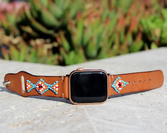Leather Apple watch band 40mm, Beaded Apple watch band 38mm, Native Apple watch band 42mm, handmade apple watch band 44mm, iWatch strap,