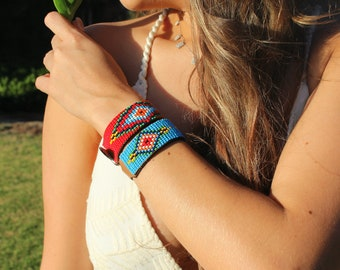 women's bracelet, leather wrist band, beaded jewelry, native american pattern, aztec design, beaded bangle, country girl, navajo style,