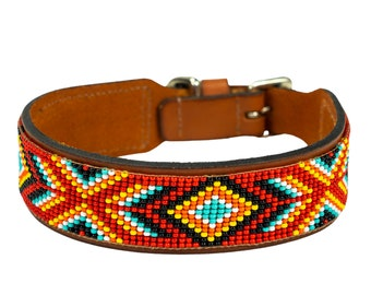 leather beaded dog collar, southwestern collar, navajo pattern, aztec dog collar, dog collar for boy, for girl, for big dog, for small dog