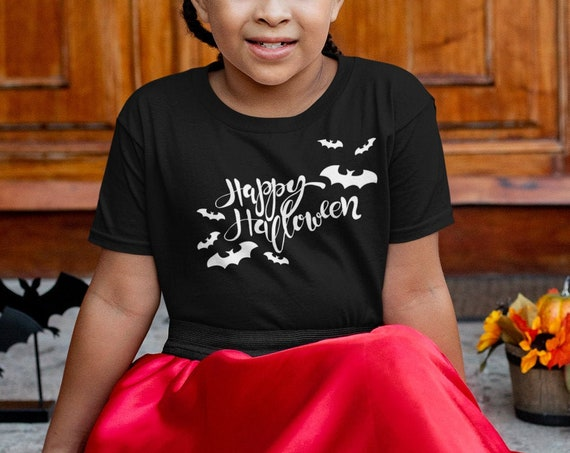 Glow in the Dark Happy Halloween youth T-shirt, Happy Halloween bats shirt, Halloween glow party youth tee,
