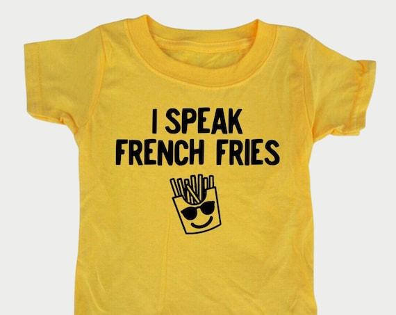 French Fry Toddler Shirt, I speak French Fries, Kids Fast Food tshirt, Funny Bilingual kid gift