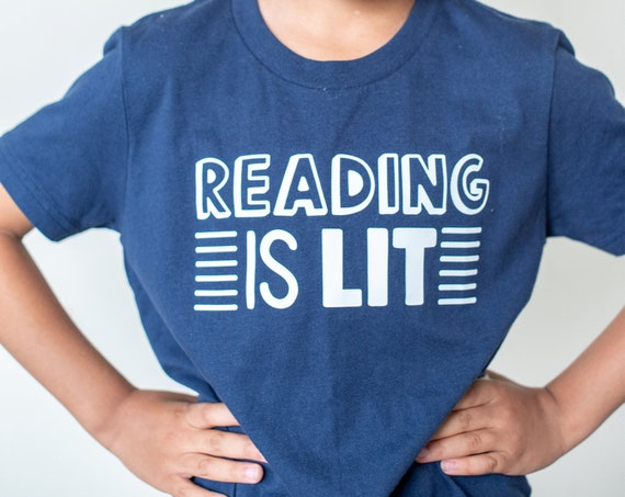 Reading is Lit, Glow in the Dark Reading t-Shirt, Book lover toddler youth tshirt