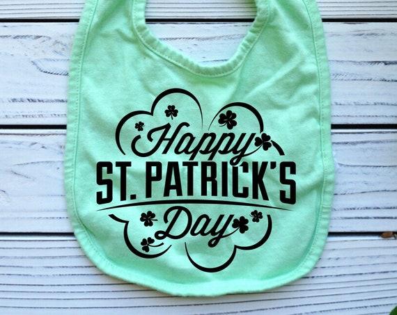 St Patrick's Day Shamrock green baby bib