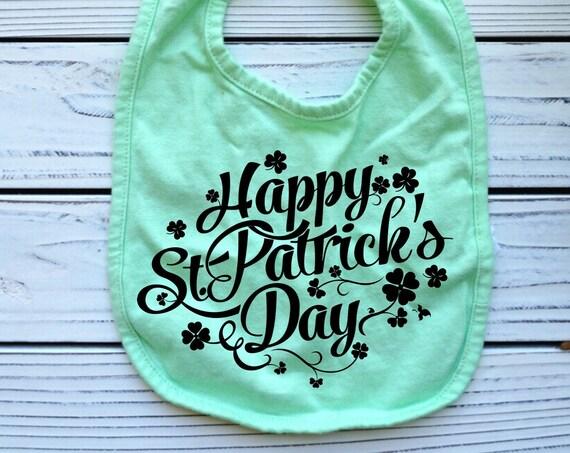 St Patrick's Day Shamrock green baby bib, gender neutral baby gifts