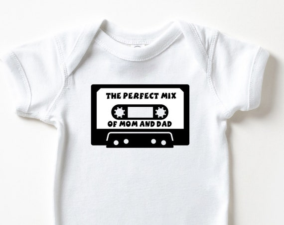 The Perfect Mix baby bodysuit, musical baby clothes, mixed baby tee, mix tape baby clothes, musician baby gift