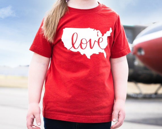 United States Love Toddler Tee, Patriotic Toddler Tee, Fourth of July tee, Gender Neutral kid clothes