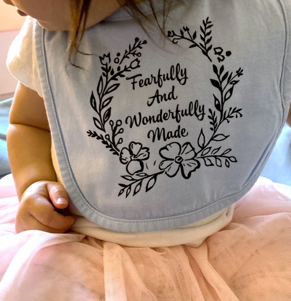 Fearfully and Wonderfully Made baby bib, Christian baby bib, baby accessories, christian baby shower gifts, Baby Christmas Stocking Stuffer