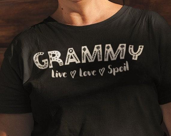 Customizable Funny Grandma tshirt, Custom grandma shirt, Grammy Live Love Spoil Shirt, Christmas gift for Grandma