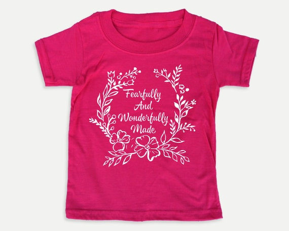 Fearfully and Wonderfully Made Floral toddler tee, Christian toddler shirt with Bible verse, Bible t-shirt for toddlers
