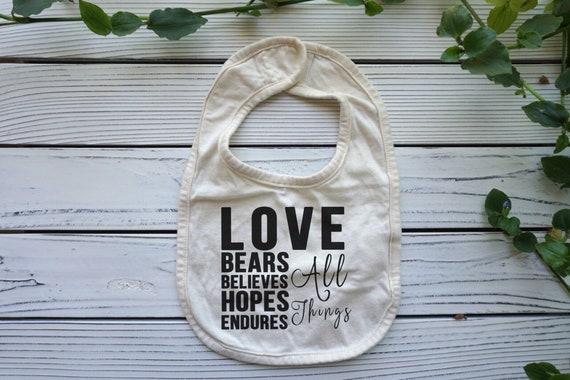 Love Chapter Bib, Bible Verse Christian baby shower gift, Gender Neutral bib, Baby  , Christian  Gift