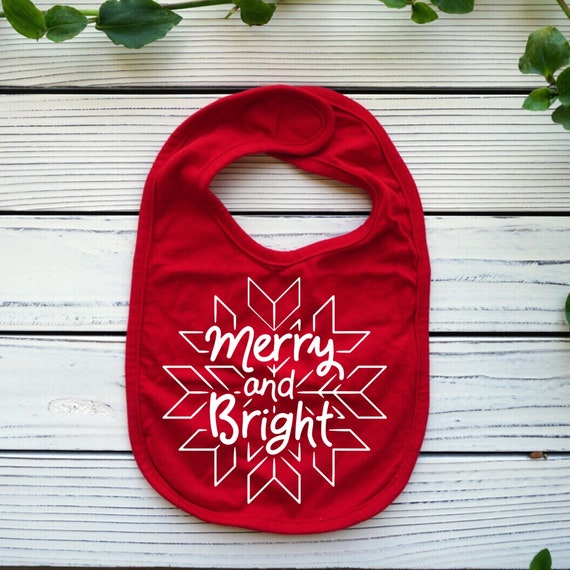 Merry and Bright Christmas baby bib
