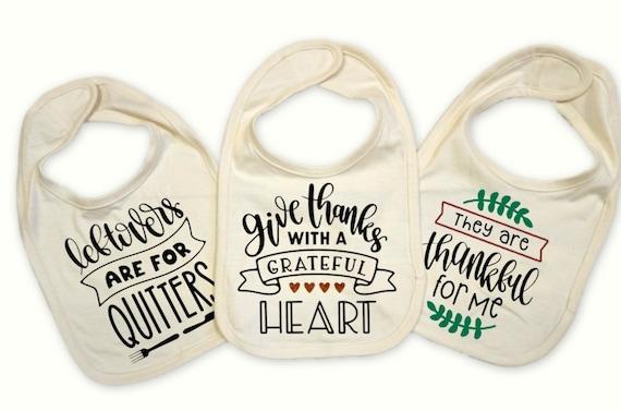 Thanksgiving baby bib set, Set of 3 holiday baby bibs