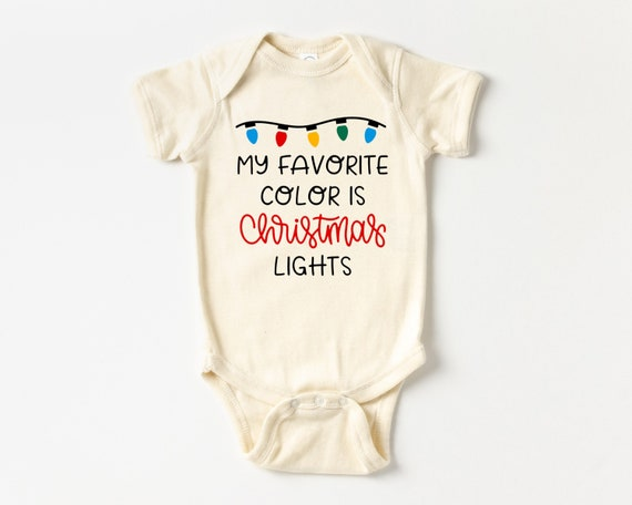 My Favorite Color is Christmas Lights Baby Outfit, Christmas Baby Clothes