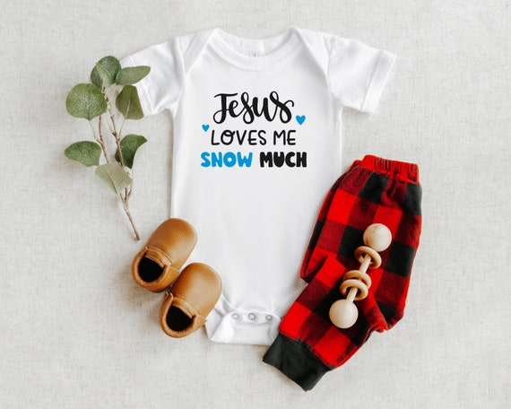 Jesus loves me Snow much Baby Outfit, Christian Christmas Baby Clothes, Baby Christmas Stocking Stuffer, Christian Christmas Gift