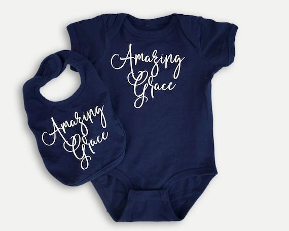 Amazing Grace baby bodysuit or bib, Christian baby shower gift, Christian Baby bib