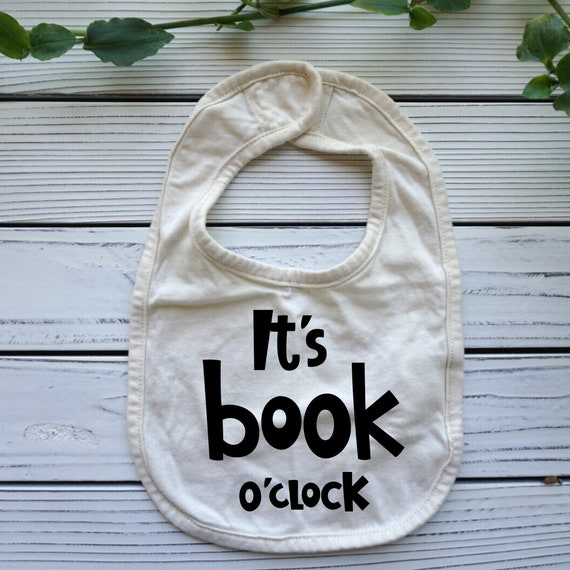 Its Book o'clock baby bib, Reading Books Library themed baby gift, Books baby shower gifts, Baby Christmas Stocking Stuffer